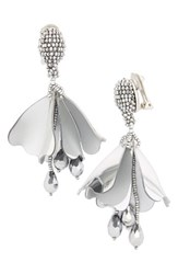 Oscar De La Renta Women's Mini Impatiens Flower Clip Earrings Silver