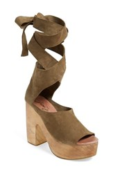 Women's Free People 'Touch The Sky' Wrap Platform Clog Sandal Taupe Suede