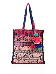 Figue Samoa Floral Embroidered Canvas Tote Pink Multi