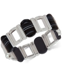 Nine West Silver Tone Black Stone Stretch Bracelet