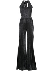 Cushnie Et Ochs Metallic Flared Jumpsuit Women Polyester Rayon M Black