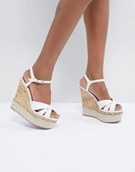 New Look Leather Cork And Espadrille Wedge White