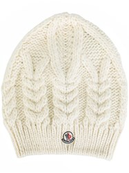 Moncler Cable Knit Beanie Hat White