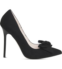 Office Hey Girl Bow Courts Black Kid Suede