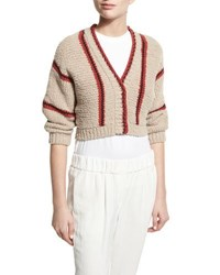 Brunello Cucinelli Cropped Chunky Knit Cardigan Multi