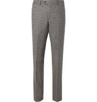 Massimo Piombo Grey Neruda Slim Fit Houndstooth Virgin Wool Suit Trousers Gray