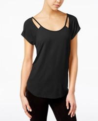 Almost Famous Juniors' Strappy Cutout T Shirt Black