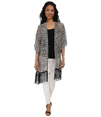 Steve Madden Cheetah Crawl Fringed Print Topper Black White Women's Clothing