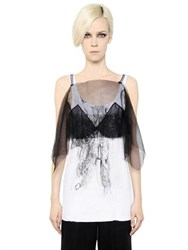 Maison Martin Margiela Tulle Bra And Cotton Jersey Tank Top