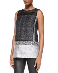 Lafayette 148 New York Erica Sleeveless Mixed Media Blouse Black Multi