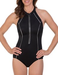 Reebok Metallic Scuba One Piece Swimsuit Black