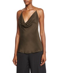 Cushnie Et Ochs Draped Halter Chain Sleeveless Blouse Dark Green Moss