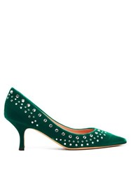 Rochas Crystal Embellished Green Velvet Pumps Green