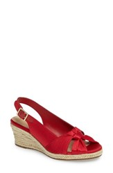 Bella Vita Women's Seraphina Ii Espadrille Wedge Sandal Red Fabric