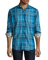 Robert Graham Lazio Ombre Plaid Jacquard Sport Shirt Blue