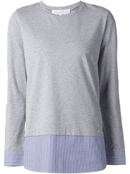 Thakoon Addition Striped Layer Longsleeved T Shirt Grey