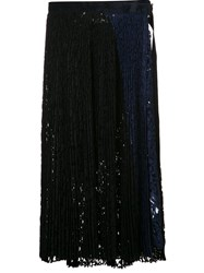 Sacai Pleated Lace Wrap Skirt Blue