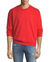 7 For All Mankind Men's Typographic Embroidered Sweatshirt Red