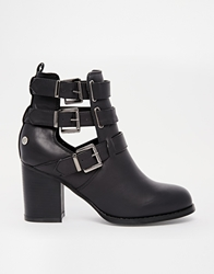 Blink Buckle Heeled Ankle Boots Black