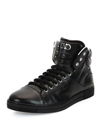 Neiman Marcus Stephen 2 Calfskin High Top Sneaker Black