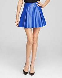 Aqua Skirt Faux Leather Pleated Mini Electric Blue