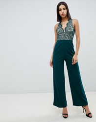 Girl In Mind Wide Leg Jumpsuit With Lace Detail Green