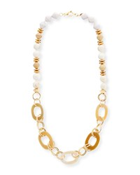Akola Horn Link And Raffia Chain Necklace White