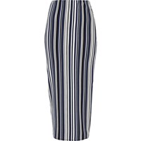 River Island Womens Blue Striped Jersey Maxi Skirt