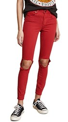 Blank Denim Mid Rise Skinny Ankle Jeans Better Off Red
