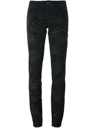 Just Cavalli Leopard Pattern Slim Fit Trousers Black