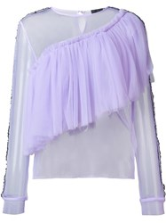 Maki Oh Sheer Tulle Frill Blouse Pink Purple