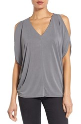 Women's Halogen Cold Shoulder Top Grey