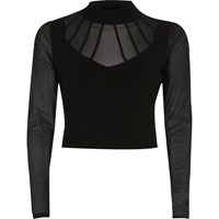 River Island Womens Black Mesh Turtleneck Crop Top