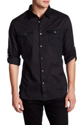 John Varvatos Woven Roll Tab Trim Fit Shirt Black