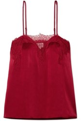 Cami Nyc The Sweetheart Lace Trimmed Silk Charmeuse Camisole Red