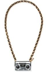 Moschino Faux Leather Trimmed Gold Tone Resin Necklace One Size
