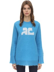 Courreges Long Sleeved Mohair Blend Sweater Blue