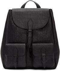 Saint Laurent Black Croc Embossed Medium Festival Backpack