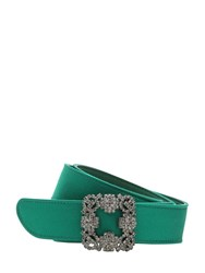 Manolo Blahnik 30Mm Hangisi Swarovski Satin Belt Emerald