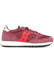 Saucony Classic Lace Up Sneakers Men Calf Leather Polyamide Polyester Rubber 11 Red