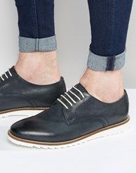 Asos Derby Shoes In Navy Leather With White Sole Navy
