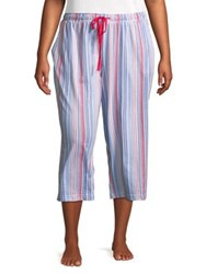 Karen Neuburger Plus Drawstring Stripe Capris Multi Stripe