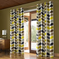 Orla Kiely Multi Stem Eyelet Curtains Duck Egg