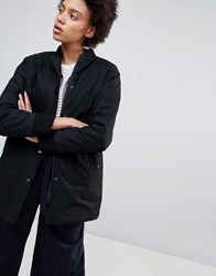 Parka London Fraces Long Bomber With Reversible Quilted Inside Black