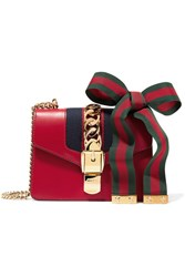 Gucci Sylvie Mini Chain Embellished Leather Shoulder Bag Claret