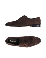 Pollini Lace Up Shoes Dark Brown