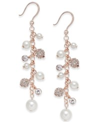 Charter Club Silver Tone Imitation Pearl And Crystal Vine Earrings Only At Macy's Rose