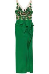 Marchesa Notte Beaded Mesh And Crepe Peplum Gown Emerald