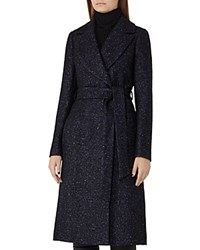 Reiss Farris Herringbone Tweed Coat Multi Blue