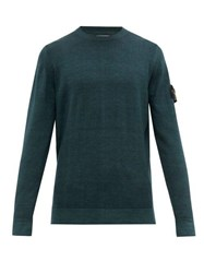 Stone Island Logo Patch Double Knitted Wool Sweater Dark Green